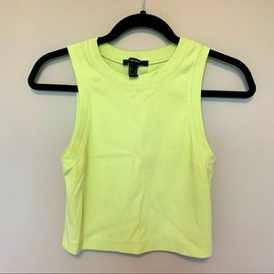 FOREVER 21 Green Ribbed Crew Neck Cropped Tank Top